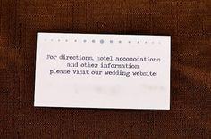 Directions/Wedding website inserts