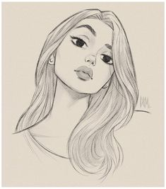 Girl Drawing Sketches, Girly Drawings, Art Drawings Sketches Simple, Pencil Art Drawings, Cool Drawings, Tumblr Sketches, Tumblr Girl Drawing, Sketch Girl Face, Sketches Of Faces