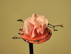 coral floral small hat