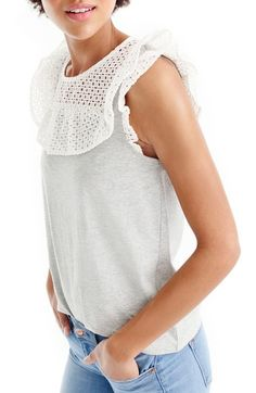 cute detailing to a basic tee! love the gray/white combo