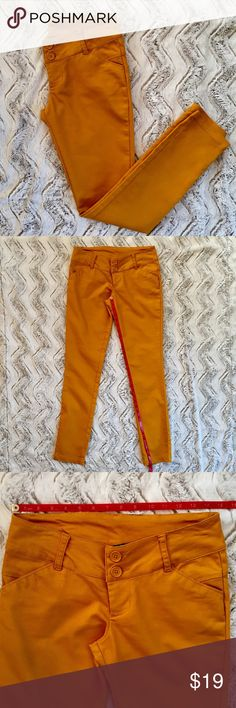 🍁MUSTARD PANTS SKINNY STRETCH LEGGING JUNIORS 5🍁 🍁EXCELLENT LIKE NEW, only worn once!  Mustard color pants just in time for fall!🍁. Soft fitted and a little stretchy.  Ramie, cotton and spandex.  Size 5, please see pictures for measurements.  All my items are kept in a clean house that's free of smoke and pets.  NCMCOLLECTIONS 🍁 Pants Skinny