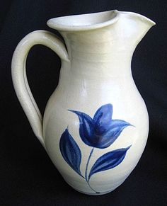 Williamsburg Pottery Pitcher or Creamer  with Cobalt Blue Tulip