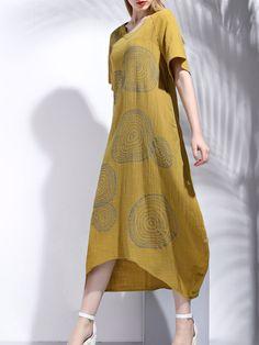 Khaki Casual V Neck Printed Cotton Maxi Dress