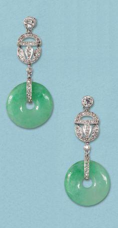 A pair of Art Deco platinum, jade and diamond earrings, English, circa 1925.