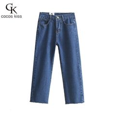 New Fashion Style Woman Red Edge Turnup Straight Jeans Wide