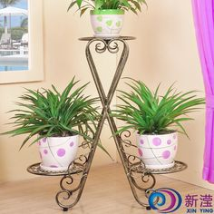 Wrought iron floor flower pot holder indoor balcony French flower stand multi-layer fashion flower