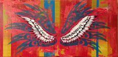 Wings - Acrylics and photocopy transfer - Toronto 2014
