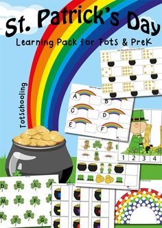 This FREE St. Patrick's Day Learning Pack from Totschooling will get preschoolers to practice early math, literacy, visual and fine motor skills while cele