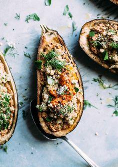 Stuffed Eggplant w/ Sunflower Romesco, Quinoa & Herbs