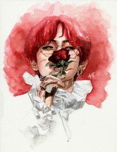 'RED' Metal Print by forinfinity Bts Art, Bts Fan Art, Bts Wallpapers, Taehyung Fanart, Bts Taehyung, Kpop Drawings, Kpop Fanart, Art Plastique, Monet