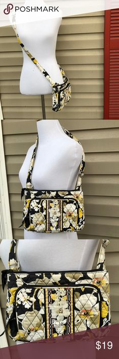 """Vera Bradley vtg. dogwood print cross body bag Very nice black,gold, tan and cream colored cross body bag, magnet close pocket in back, zip pocket in front with slots for credit cards., zip close, zip pocket inside, adjustable strap, no snags, stains,holes. 50""""adjustable strap is 10""""W x 7""""H x 1 3/4"""" D Vera Bradley Bags Crossbody Bags"""