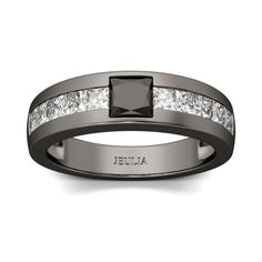 Cool Princess-Cut Bl  Cool Princess-Cut Black Diamond Men's Ring