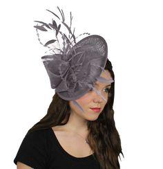 Dark Grey Galina Fascinator Hat for Weddings by Hatsbycressida...