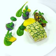 """#fishfriday By @cese420 """"Turbot with zucchini scales, patty pan squash, purple Peruvian potato, basil pesto and saffron buerre blanc."""" #foodphotography #beautiful #foodporn #gourmet #instagramfood #chef #foodart #lovefood #artofplating #instafood #yummy #foodpic #photooftheday #instagourmet #dinner #foodoftheday #dessert #delicious #taste #instagood #eat #gastronomy #love #foodie #cook #cooking #foodgasm #culinaryart"""