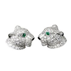 Cartier Panthere Pave Diamond White Gold Earrings