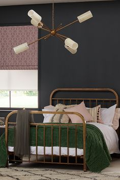 The aged patina of a vintage brass bed adds character and class, while the sculptural beauty of an iconic sputnik ceiling light quietly demands attention Bedroom Green, Dream Bedroom, Home Decor Bedroom, Black Bedrooms, Bedroom Colour Palette, Brass Bed, Interior Decorating, Interior Design, Beautiful Bedrooms