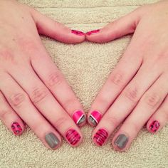 Animal inspired nails using GELeration in Monarch, Pink Explosion, Frost and Sunset Boulevard.