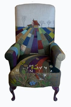 Funky Chairs, Cool Chairs, Upholstered Swivel Chairs, Chair Upholstery, Funky Furniture, Classic Furniture, Furniture Chairs, Unique Furniture, Patchwork Chair