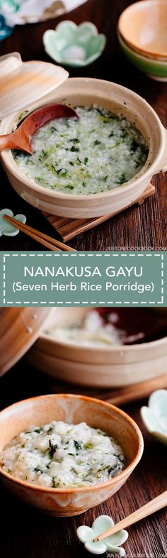 Nanakusa Gayu (Seven Herb Rice Porridge) 七草粥 | Easy Japanese Recipes at JustOneCookbook.com