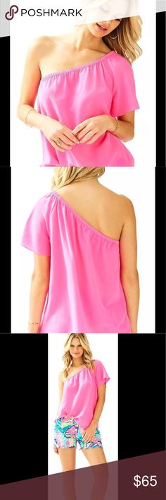 LILLY PULITZER FIFER TOP  ONE SHOULDER 💯 silk NWT LILLY PULITZER FIFER TOP  Kiri Royal PINK ONE SHOULDER SILK XXS RETAIL $128  Asymmetrical Top With Short Sleeve. Silk CDC - Printed (100% Silk). Dry Clean Only. Imported. Lilly Pulitzer Tops Blouses