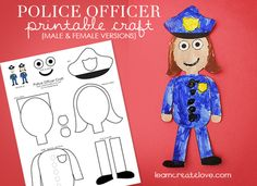 { Printable Police Officer Craft } from LearnCreateLove.com