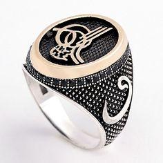 Elif ve vav harfli, Osmanlı tuğrası işlemeli, gümüş erkek yüzüğü