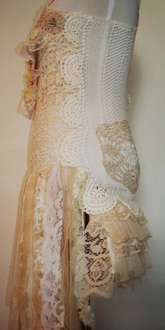 Boho/Hippie/Crochet/Lacy/Overlay/Dress by AjasPlace on Etsy