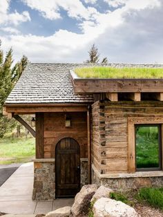 Wood, stone, and green roof