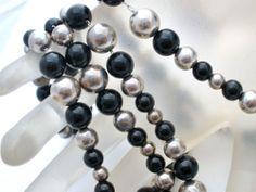 "Vintage Sterling Silver Dobbs Necklace Bracelet Black Onyx Bead 24"" Long 7 5""   eBay"
