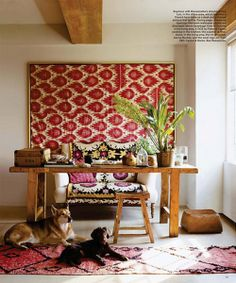 framed fabric boho chic home office