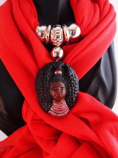 New to TheBlackerTheBerry on Etsy: African Queen Scarf African Scarves Red African American Handmade Unique Clay Pendant Fall Scarves Statement African Accessories Gift Ideas