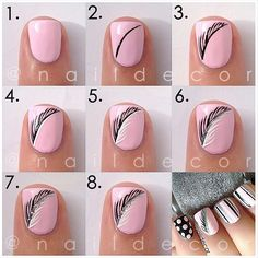 Pink Feather Nails pink nails colorful nails nail art diy nails how to nail designs manicures nail tutorials Nail Art Plume, Feather Nail Art, Feather Design, Feather Pattern, Feather Nail Designs, Feather Drawing, Great Nails, Simple Nails, Cute Nails