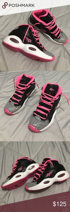 """💞 Reebok Question Mid's💞 Allen Iverson's, classic Reebok Question; """"Houndstooth"""" color way but in a more vibrant way!! Size 5, fit like a 6 - 6.5 Gently worn & taken care of!! In pics a couple light smudges, nothing major (in pics). Brighten up your life with these 💞 Hot Pink, Houndstooth design, Black & White. Honey comb design on lower Sole. Released November 7th 2014. 💞🖤 OPEN TO OFFERS!! Reebok Shoes"""