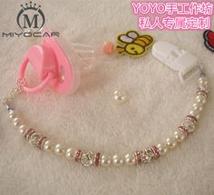 MIYOCAR Hand made lovely Crystalin pearl beads dummy clip holder pacifier clips and pacifier holder for baby DC004