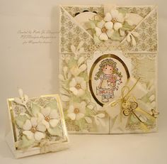 Tri-fold card with  removable heart,  and matching trinket or truffle box.