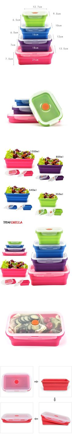 Baby Food Storage Food-grade Silicone Children Folding Box Portable Outdoor Camping Travel Non Toxic Toddler Dinnerware BB5063