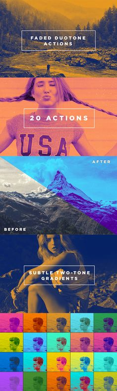 20 Faded Duotone Photoshop Actions #filters • Click here to download ! http://graphicriver.net/item/20-faded-duotone-photoshop-actions/16132305?ref=pxcr