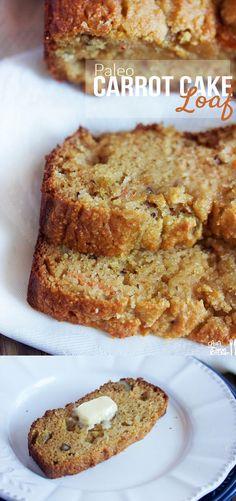 Paleo Carrot Cake Loaf - almond flour, coconut flour, carrots, applesauce…