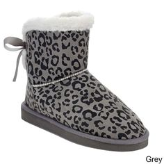 C Label Beston AA50 Women's Winter Pull On Faux Flat Heel Ankle Snow Booties