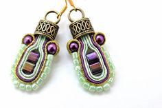 Pastel mint and purple earrings