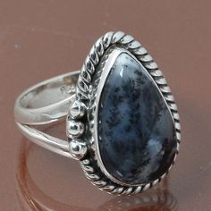 DENDRITEC AGATE 925 STERLING SILVER RING JEWELRY 5.15g DJR7025 SIZE 6.5 #Handmade #Ring