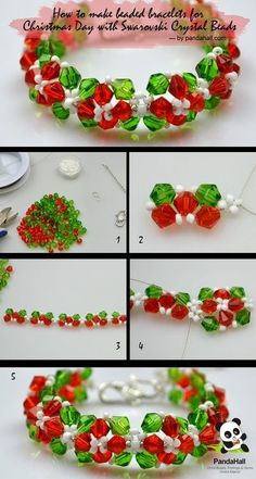 Jewelry Making Tutorial--DIY Bracelet for Christmas Day with Swarovski Crystal Beads | PandaHall Beads Jewelry Blog by delores