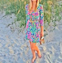 Lilly Pulitzer Palmetto V-Neck T-shirt Dress worn by Leslie Walker