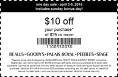 Pinned April 5th: $10 off $25 at Bealls #Goodys Palais Royal Peebles & Stage Stores #coupon via The #Coupons App