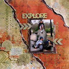 """""""Explore"""" layout by Cathy Cafun using Kaisercraft 'Into the Wild' collection - Wendy Schultz ~ Scrapbook Pages 3."""