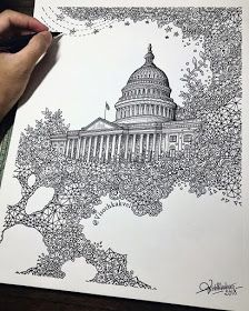 Pen illustration by The Capitol (Washington, D. The Extrusion Series. Abstract Drawings, Doodle Drawings, Cartoon Drawings, Doodle Art, Dibujos Zentangle Art, Ink Illustrations, Pen Illustration, Mandala Drawing, Detailed Drawings