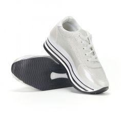 Pantofi sport de dama albi cu platforma și efect strălucitor it160318-55 | Fashionmix.ro Wine Wallpaper, Cute Flats, Wedding Shoes, Sneakers, Fashion, Tennis, Boots, Wedding Shoes Heels, Moda
