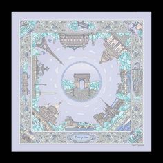 Twill Silk Scarf - PARIS JE T'AIME - Sky blue