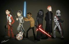 Poe Dameron, Rey, Finn, Kylo Ren, General Hux and Captain Phasma