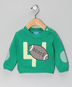 Take a look at this Green Football Appliqué Sweater - Infant by Mud Pie Kids on #zulily today! #Fall